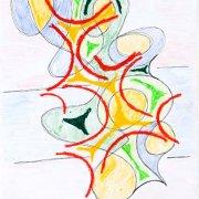<p>41,8 x 29,5 cm, Ölkreide, Fineliner, Buntstift auf Papier</p>