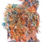 59,5 x 42 cm, lavierter Buntstift auf Papier