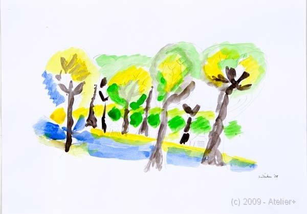 42 x 29,5 cm, Bleistift, Aquarell