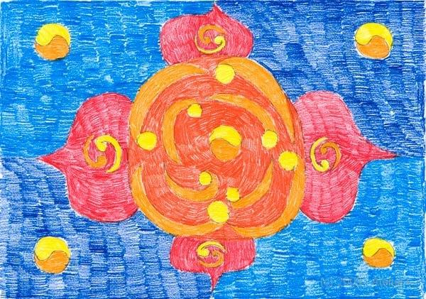 41,8 x 29,5 cm, Buntstift auf Papier