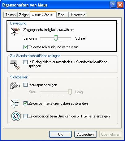 Man sieht das Fenster Eigenschaften von Maus, in dem die Registerkarte Zeigeroptionen ausgewählt wurde.