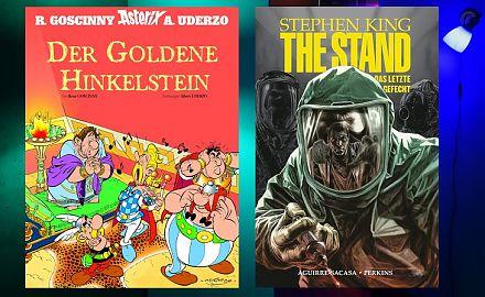 Bücher zum Schauen und Schmökern präsentiert der LeseWurm. (Foto: Volker Stephan, Cover: Panini Comics; 2020 Les Editions Albert Rene)