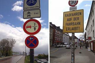 Neue Schilder regeln den Verkehr, wo sich Rad- und Autofahrer begegnen. (Fotos: Ralf Clausen)