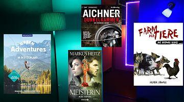 Bildgewaltige Bücher sind Thema im Mai-LeseWurm. (Foto: Volker Stephan, Cover: Verlage Polyglott, Knaur, Panini Comics, der Hörverlag)