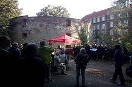 Gedenken vor dem Zwinger zum  80. Jahrestag des Überfalls auf Polen und Beginn des 2. Weltkriegs. (Foto: VVN-BdA Münster)