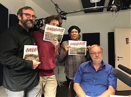 Bernd Drücke, Julian Richter, Rhoda-Ann Bazier und Thomas Siepelmeyer im Studio des medienforum münster. (Foto: Klaus Bödow)