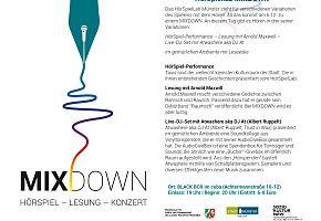 Flyer mit Infos zur Mixdown-Veranstaltung