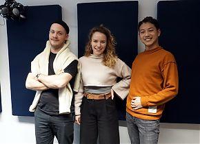 Valentin Schroeteler, Eva Dorlass und Chen-Han Lin vom Jungen Theater Münster (Foto: Nora Löhr)