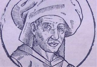 "Graphik : S.T. Tisch, nach dem Holzschnitt- Porträt Josquin Desprez' aus Petrus Opmeers ""Opvs chronographicvm orbis vniversi a mvndi exordio vsqve ad annvm M.DC.XI."" , Antwerpen 1611"